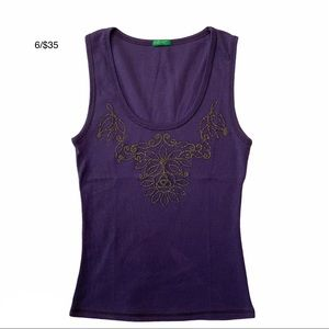 UNITED COLORS OF BENETTON purple embroidered